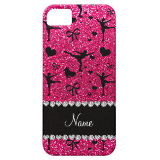 Custom name rose pink glitter figure skating iPhone 5 covers
