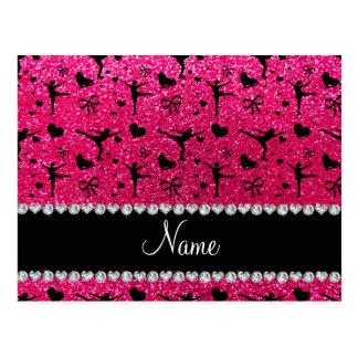 Custom name rose pink glitter figure skating postcard