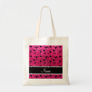 Custom name rose pink glitter figure skating tote bag