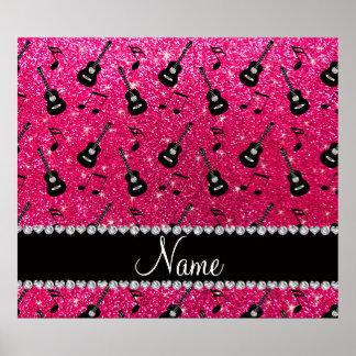 Custom name rose pink glitter guitars music notes poster