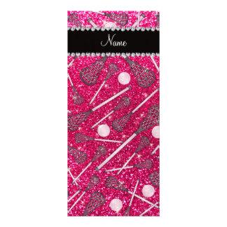Custom name rose pink glitter lacrosse sticks full color rack card