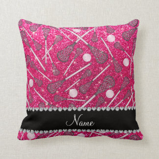 Custom name rose pink glitter lacrosse sticks throw pillow