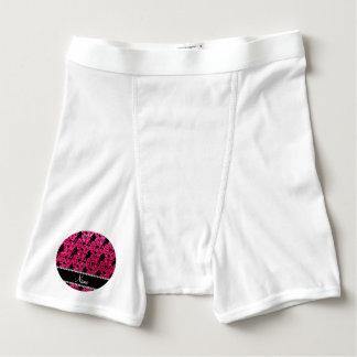 Custom name rose pink glitter roller derby boxer briefs