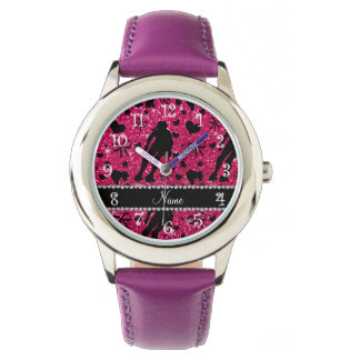 Custom name rose pink glitter roller derby wristwatch
