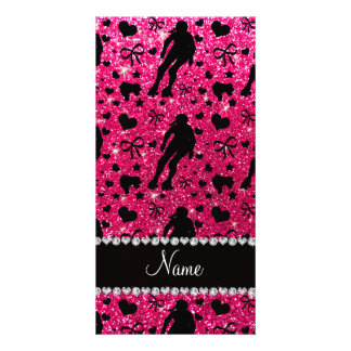 Custom name rose pink glitter roller derby personalized photo card