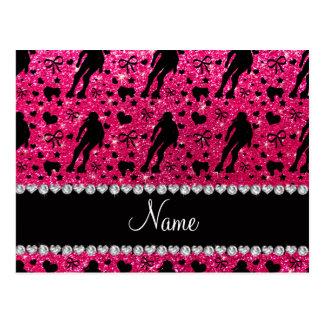 Custom name rose pink glitter roller derby postcards
