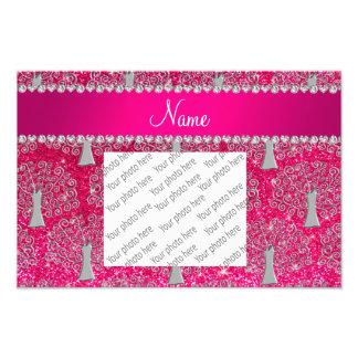 Custom name rose pink glitter silver tree of life photo print
