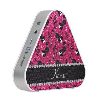 Custom name rose pink glitter violins music notes