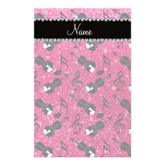 Custom name rose pink glitter violins music notes customized stationery