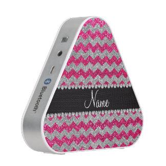 Custom name rose pink silver glitter chevrons speaker