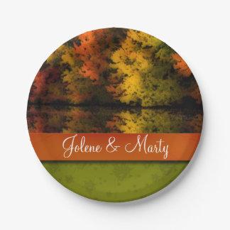 Custom Name Rustic Wedding Fall Scene Personalised 7 Inch Paper Plate