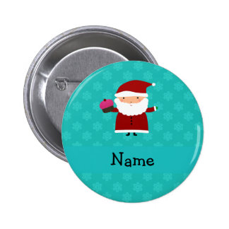 Custom name santa cupcake turquoise snowflakes 6 cm round badge