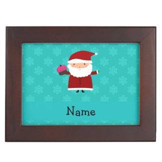 Custom name santa cupcake turquoise snowflakes keepsake boxes