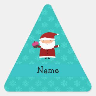 Custom name santa cupcake turquoise snowflakes sticker