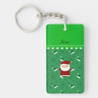 Custom name santa green santa hats snowflakes rectangle acrylic keychains