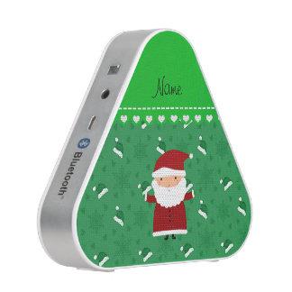 Custom name santa green santa hats snowflakes bluetooth speaker