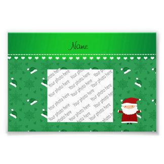 Custom name santa green santa hats snowflakes photograph