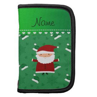 Custom name santa green santa hats snowflakes folio planner