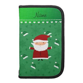 Custom name santa green santa hats snowflakes planner