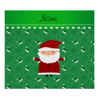 Custom name santa green santa hats snowflakes poster