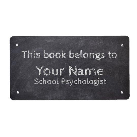 Custom Name School Psychologist Chalkboard Labels