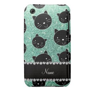 Custom name seafoam green glitter black cat faces iPhone 3 Case-Mate cases