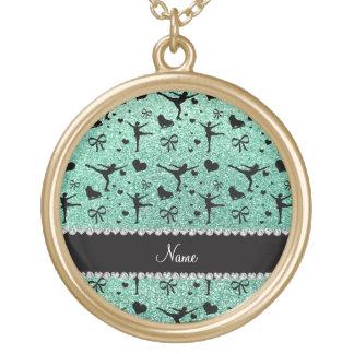 Custom name seafoam green glitter figure skating pendants