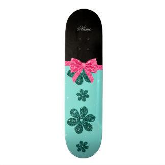 Custom name seafoam green glitter flowers pink bow custom skate board