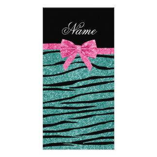 Custom name seafoam green glitter zebra stripes custom photo card