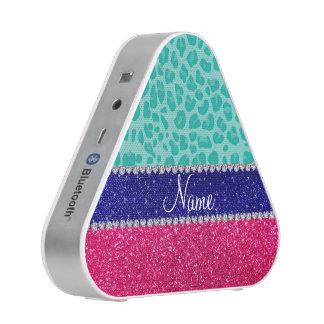 Custom name seafoam green leopard pink glitter bluetooth speaker