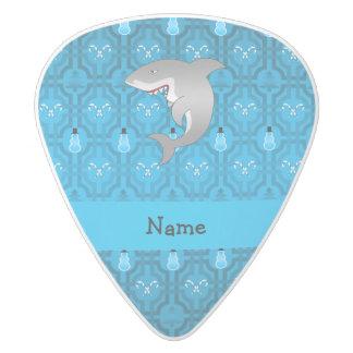 Custom name shark blue snowman trellis pattern white delrin guitar pick