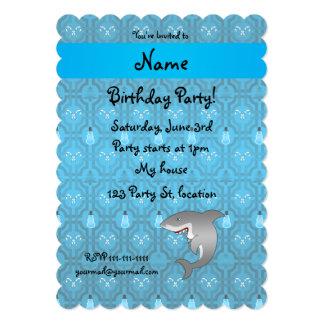 "Custom name shark blue snowman trellis pattern 5"" x 7"" invitation card"