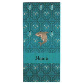 Custom name shark blue snowman trellis pattern wood USB 2.0 flash drive