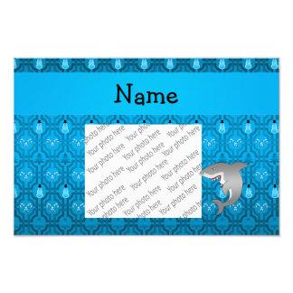 Custom name shark blue snowman trellis pattern art photo
