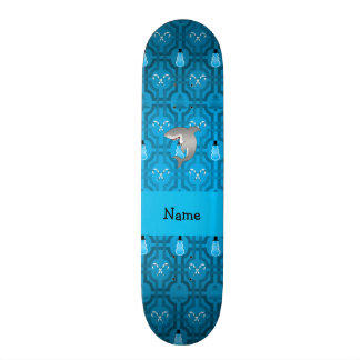 Custom name shark blue snowman trellis pattern skate board deck