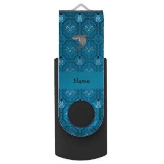 Custom name shark blue snowman trellis pattern swivel USB 2.0 flash drive