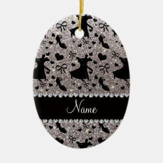 Custom name silver glitter ballroom dancing christmas ornament