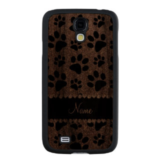 Custom name silver glitter black dog paws carved® walnut galaxy s4 case