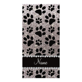 Custom name silver glitter black dog paws photo card template