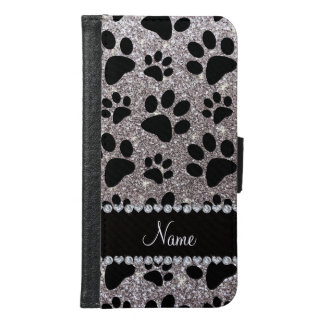 Custom name silver glitter black dog paws samsung galaxy s6 wallet case