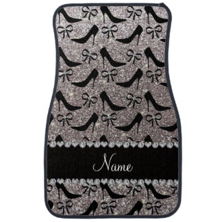 Custom name silver glitter black high heels bow car mat