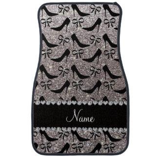 Custom name silver glitter black high heels bow floor mat