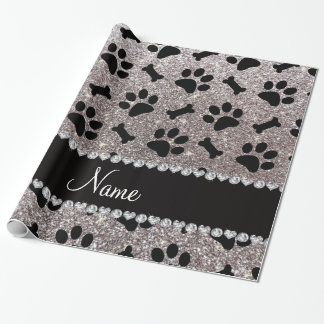Custom name silver glitter bones dog paws wrapping paper