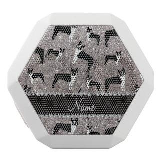 Custom name silver glitter boston terrier white boombot rex bluetooth speaker