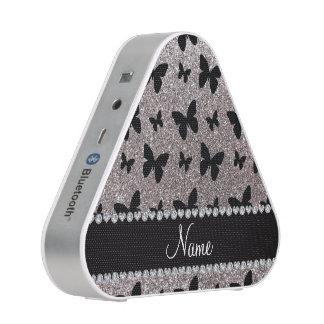 Custom name silver glitter butterflies speaker