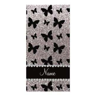 Custom name silver glitter butterflies customized photo card