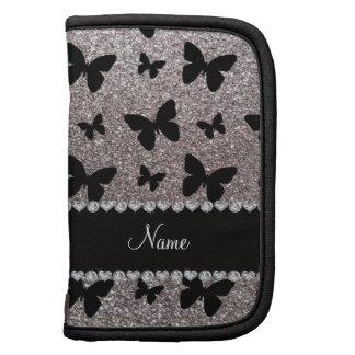 Custom name silver glitter butterflies planners