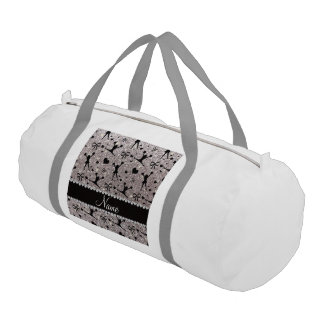 Custom name silver glitter cheerleading gym duffel bag