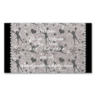 Custom name silver glitter cheerleading magnetic business cards (Pack of 25)