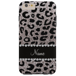 Custom name silver glitter cheetah print tough iPhone 6 plus case